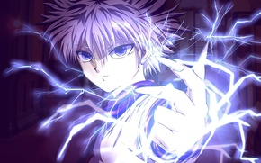 Picture game, lightning, blue, anime, power, short hair, boy, assassin, asian, hand, flash, action, manga, hunter, …