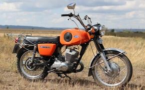 Wallpaper the sky, grass, Field, motorcycle, USSR, IZH - Planeta - Sport