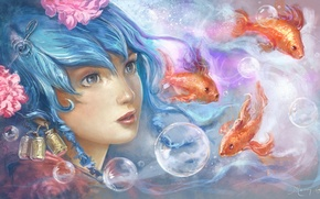 Picture eyes, look, water, girl, fish, bubbles, art, painting, blue hair