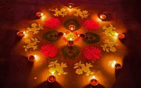 Picture pattern, India, lamp, Diwali festival