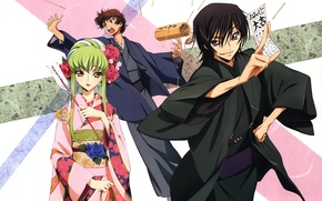 Picture the game, sticks, arrow, kimono, three, art, code geass, code geass, c.c., takahiro himura, suzaku ...
