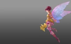 Picture girl, wings, anime, art, flight, fake