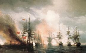 Wallpaper battle, picture, Sinop, Aivazovsky