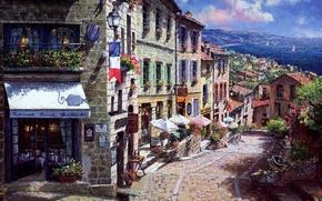 Picture sea, flowers, street, France, home, picture, flag, umbrellas, lantern, restaurant, town, bridge, sailboats, balconies, Sung …