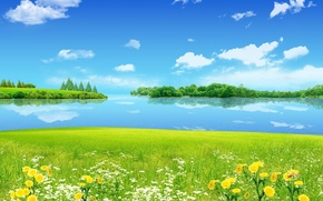Picture the sky, grass, trees, landscape, flowers, river