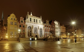 Picture photo, Home, Night, The city, Street, Lights, Poland, Gdansk