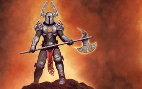 Picture weapons, armor, warrior, horns, helmet, knight, metal king