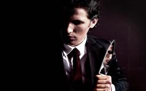 Picture the film, Christian Bale, Christian Bale, American psycho, Patrick Bateman, nozh, American Psycho