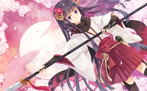 Picture flower, girl, butterfly, weapons, anime, art, spear, dog, inu x boku ss, kurone kuroneko, shirakiin …