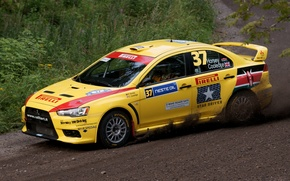 Picture Yellow, Sport, Race, Mitsubishi, Lancer, WRC, Pirelli