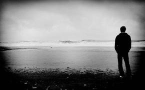 Wallpaper sea, wave, landscape, mood, black and white, guy