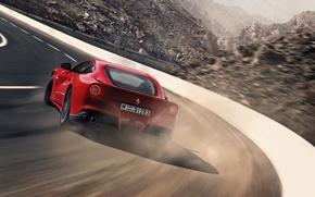 Picture Ferrari, Skid, Ferrari, Red, Supercar, Supercar, Berlinetta, F12