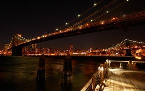 Picture city, lights, New York, bridge, photo, night, New York, view, Bridges