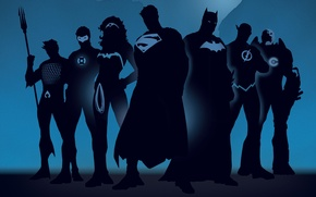 Wallpaper silhouettes, comics, superheroes
