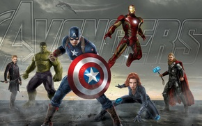 Picture Hulk, iron man, Thor, captain America, the Avengers, avengers, black widow, Hawkeye