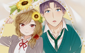 Picture girl, anime, art, guy, The gekka Shoujo Nozaki-kun, Nozaki is the author of shojo manga