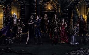 Picture women, night, castle, sword, mystic, art, torch, vampire, knight, men, costumes