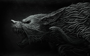 Picture wolf, grin, weave, Fenrir