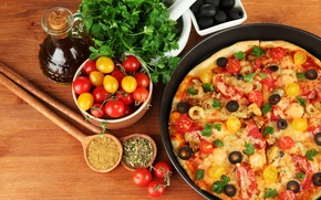 Picture food, cheese, pizza, tomatoes, olives, parsley, dish, olives, spices, bowls