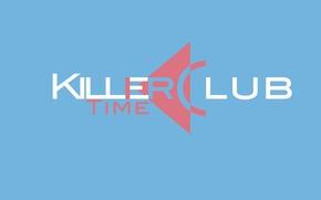 Picture time, pink, blue, minimalism, logo, club, bright, killer, club, killer, time, Killer