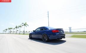 Picture road, blue, palm trees, BMW, speed, BMW, blue, vossen