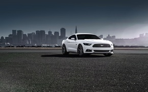 Picture Mustang, Ford, Muscle, Car, Front, White, Vossen, Wheels, 2015