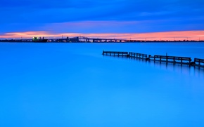 Picture sunset, the city, lights, lake, the evening, Canada, Ontario, Burlington
