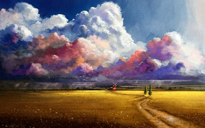 Picture road, field, clouds, trees, flowers, birds, mill, painted landscape