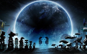 Picture the sky, night, planet, mechanisms, game wallpapers, Defense Grid 2