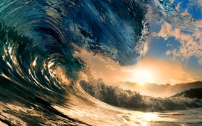 Picture sea, the sky, water, the sun, rays, sunset, the ocean, wave, sky, sea, ocean, sunset, …