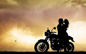 Wallpaper summer, silhouette, mood, blur, the evening, wallpaper., bokeh, beautiful background, beautiful background, motorcycle, romance, bike, ...
