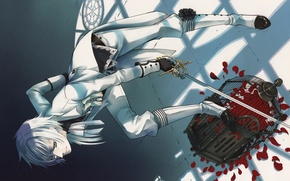 Picture shadow, cell, costume, gloves, white hair, rose petals, art, sword, Dark Butler, Kuroshitsuji, Since Toboso, …