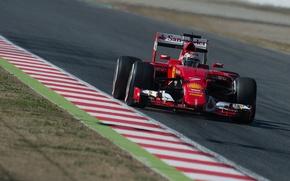 Picture Ferrari, Formula 1, Spain, Kimi Raikkonen Also, 2015, Tests, SF15T, The curb