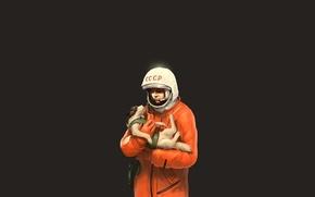 Picture dog, astronaut, arrow, USSR, jumpsuit, Yuri Alekseyevich Gagarin