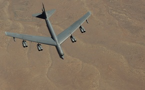 Wallpaper strategic, bomber, heavy, STRATO fortress, Boeing, B-52, flight landscape