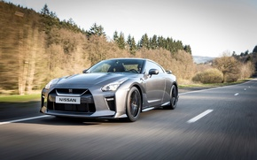 Wallpaper speed, road, trees, Nissan, auto, GT-R, silver, sports car