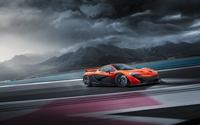 Picture McLaren, Orange, Clouds, Supercar, Track, Skid, Drifting