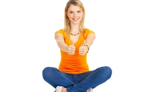 Wallpaper girl, joy, smile, mood, up, orange, jeans, large, finger, beads, bracelet, class, blouse, beautiful, gesture, ...