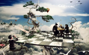 Wallpaper cells, Board, chess, trees, fiction, boy