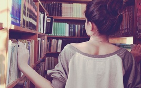 Wallpaper girl, search, background, situation, Wallpaper, back, books, brunette, shop, book, library