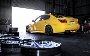 Picture yellow, bmw, BMW, drives, back, e60 yellow