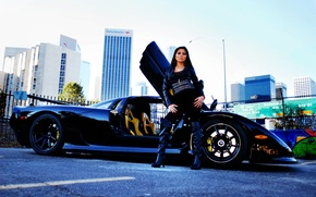 Picture the sky, girl, black, building, brunette, profile, girl, black, brunet, Mosler, Mosler, RaptorGTR, Raptor GTR, …