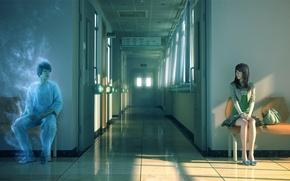 Wallpaper girl, the sun, sunset, chairs, spirit, art, corridor, Ghost, hospital, guy, bag, sitting, Yao Yonglin