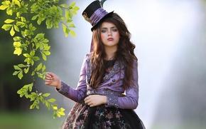 Picture branch, makeup, girl, hat, bokeh