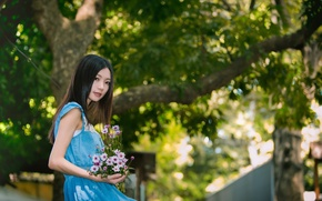 Picture girl, flowers, mood, Asian
