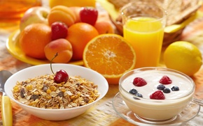 Picture widescreen, juice, HD wallpapers, Wallpaper, cereal, berries, raspberry, peach, apricot, full screen, Breakfast, cherry, background, ...