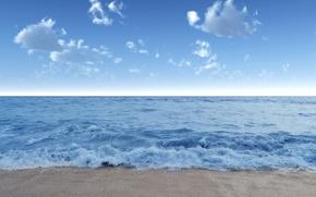 Wallpaper wave, landscape, nature, shore, beach, sand, sea, wave, water, blue, summer, the sky, clouds