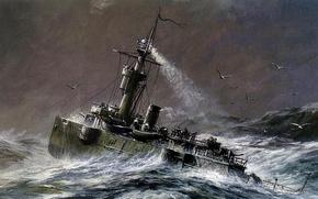 "Picture wave, birds, boat, figure, artist, the ocean, albatrosses, gunboats, Zaikin, A. Yu., ""Gilyak"""
