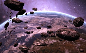 Picture space, nebula, fiction, planet, stars, asteroids, space, nebula, stars, sci-fi, planet, Scott Richard, asteroids