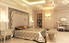 Picture gold, bed, pillow, bedroom, beige